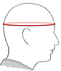 ヘルメットサイズ測定位置